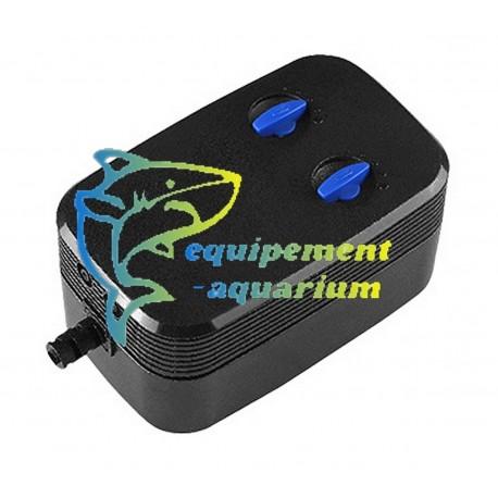 Pompe à air aquarium 2X 1,6L/mn très silencieuse et pas cher. SUNSUN CQ-200